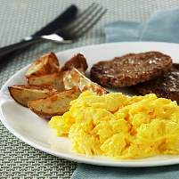 Fluffy Scrambled Eggs with Redskin  Potatoes and Sausage